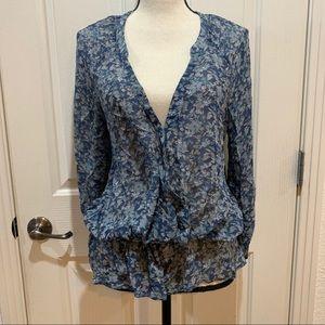 Joie Peplum Top Medium Silk Floral Like New Blouse
